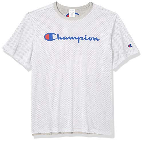 Champion Herren Reversible Mesh Tee T-Shirt, Weiß/Oxford-Grau 549922, Groß