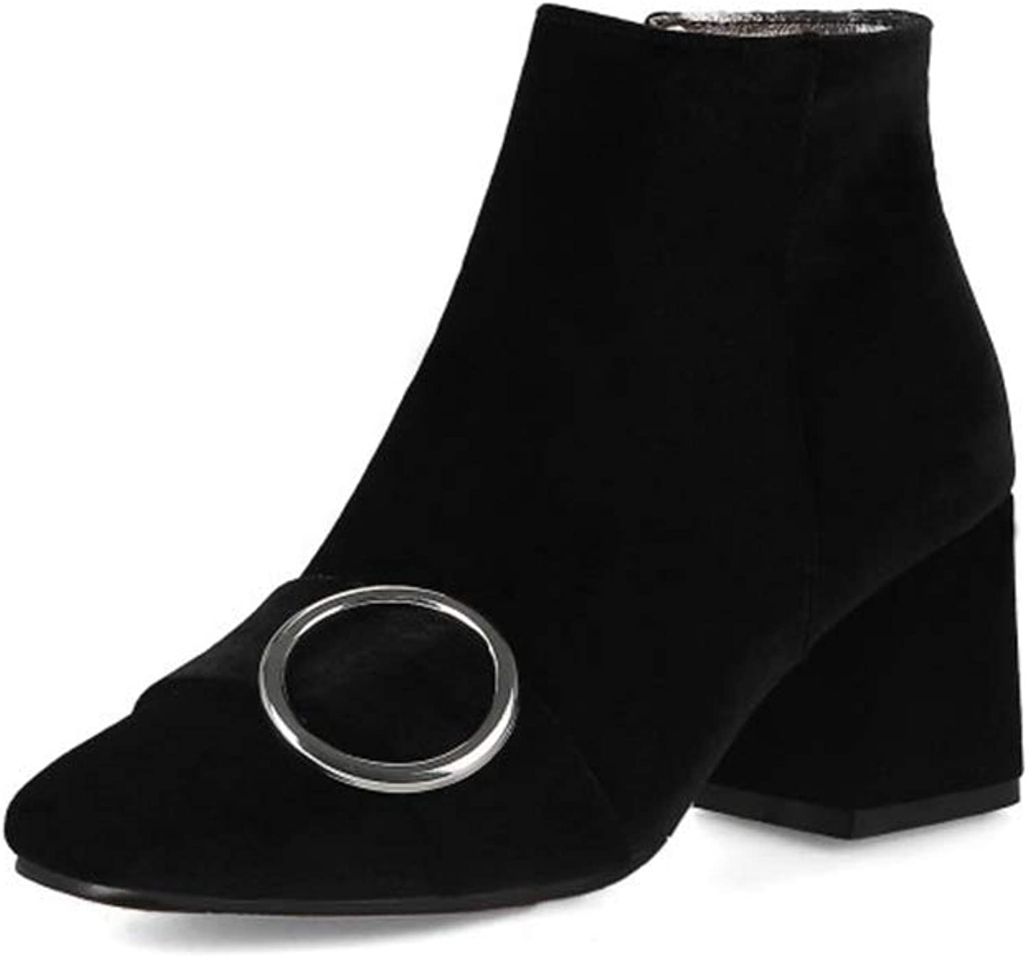Womens Elegant Ankle Booties Square Head Block Chunky Mid Heel Dress shoes Side Zipper Martin Boots