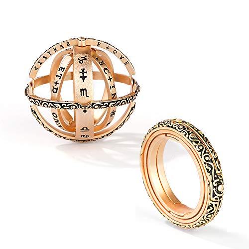 GNOCE Astronomische Kugel Ringe Sterling Silber Sterne betrachten Gelbgoldringe Verlobungsring Geschenk fur Damen Freundin Herren (Gold, 56 (17.8))
