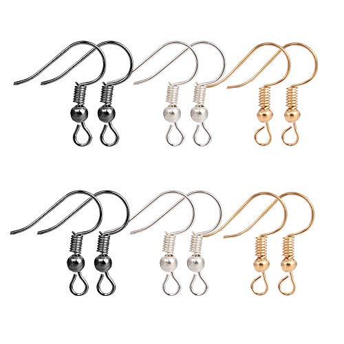 300 Stück Ohrring Haken, 18mm Ohrhaken Ohrhänger Ohrhaken Schmuckzubehör Fischhaken Ohrringe für Handwerk Ohrring Herstellung (3 Farben)