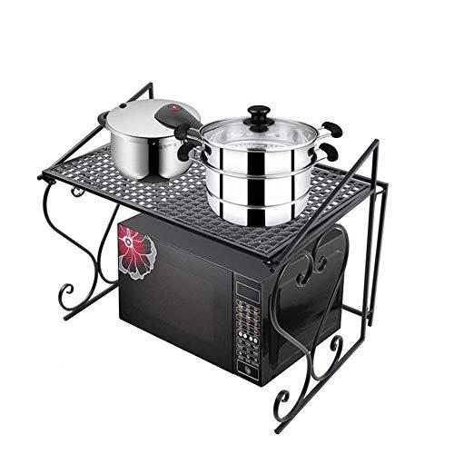 ZGQA-GQA Estante doble para horno de microondas, cocina y microondas, multifuncional, estante de almacenamiento para arroz, horno grande para microondas (color: negro, tamaño: 55 x 37 x 45 cm)