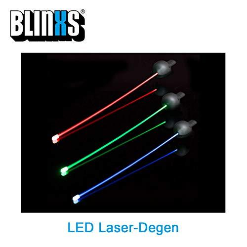 BLINXS LED Laser-Degen / -Rapier/ -Florett - flexibel DREI Blinkmodis - 72 cm lang - mit austauschbaren Batterien - für Kinder Rot