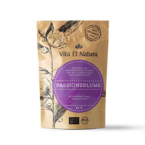 Vita Et Natura BIO Passionsblumenkraut für Kräuter-Tee - für wohlschmeckende Momente der Entspannung - 60 g loser Tee aus 100 % biologischen Anbau