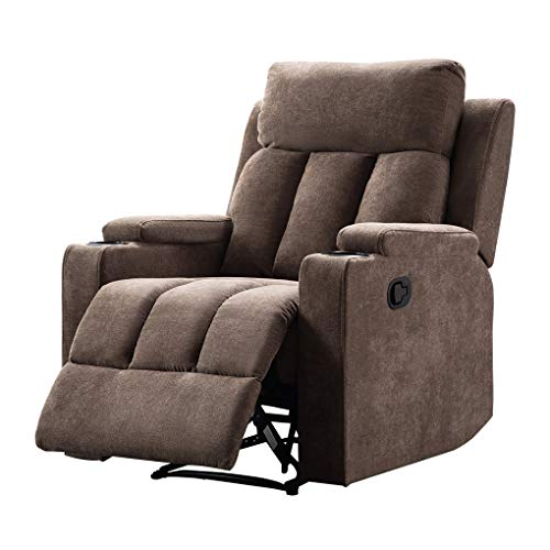 Recliner Chair 2 Cup Holders Single Sofa Adjustable Angle Heavy Duty Reclining Chair, Light Brown