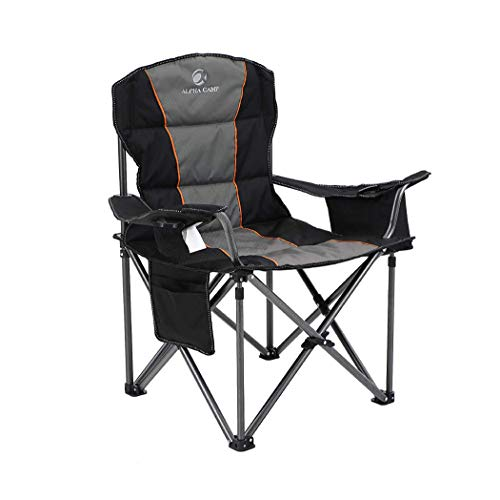 ALPHA CAMP Portable Folding Oversized Camping Chairs with Cup Holder and Cooler Bag - Heavy Duty...