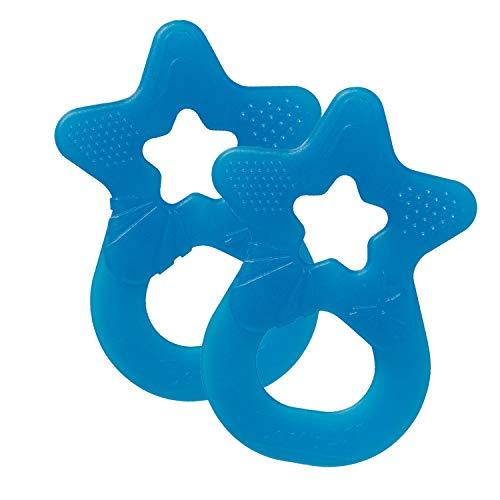 Dentistar Beißring 2er-Set – Teether für Babys und Kleinkinder ab 3 Monate geeignet – Baby Beißring aus weichem Silikon zur Zahnungshilfe und Massage mit Griff – Royal Blau – Made in EU