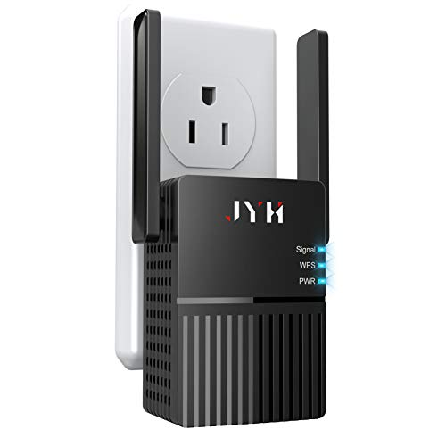 1200Mbps WiFi Extender, 2.4 & 5GHz Dual Band WiFi Repeater 360 Degree Full Coverage WiFi Booster with 2 External Advanced Antennas (Only Support Repeater Mode)