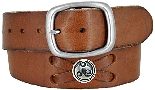 TB105-P3645-BS9171 Celtic Swirl Conchos Belt Genuine Full Grain Leather Belt 1-3/4' (45mm) Wide (Silver-Brown, 40)