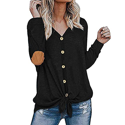 Camiseta tipo túnica de manga larga para mujer Camiseta con pajarita Camisa holgada con cuello en V con botones tipo cárdigan Sudadera Pullover Elegante camiseta con botones holgada informal Henley
