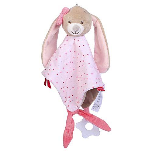 YYJDM-Baby Plüschtier Handtuch, Elefant Hase Baby Sicherheitsdecke, Plüsch Tierdecke, Baby Rassel Spielzeug Beruhigende Puppe, Kaninchen