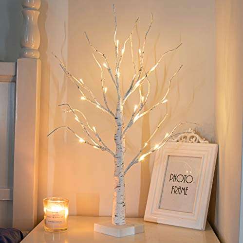 """PEIDUO 24"""" 2FT 24LT Lighted Birch Tree Battery Powered Timer Warm White LED Artificial Branch Tree for Home Party Festival Wedding Decor, 2FT Table Tree Lamp"""
