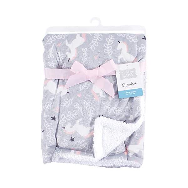 Hudson Baby Unisex Baby Plush Blanket with Sherpa Back, Whimsical Unicorn, One Size