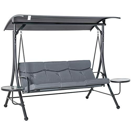 Outsunny Hollywoodschaukel 3-Sitzer Gartenschaukel Schaukelbank mit verstellbarem Sonnendach Teetisch Stahl Polyester Grau+Schwarz 278 x 125 x 177 cm
