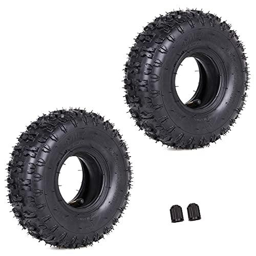 Neumáticos, juego de 2 4,10-4 410-4 Neumático + tubo interior con vástago de válvula en ángulo doblado TR87 Reemplazo para rotocultivadores de jardín Sopladores de nieve Segadoras Camiones manuales