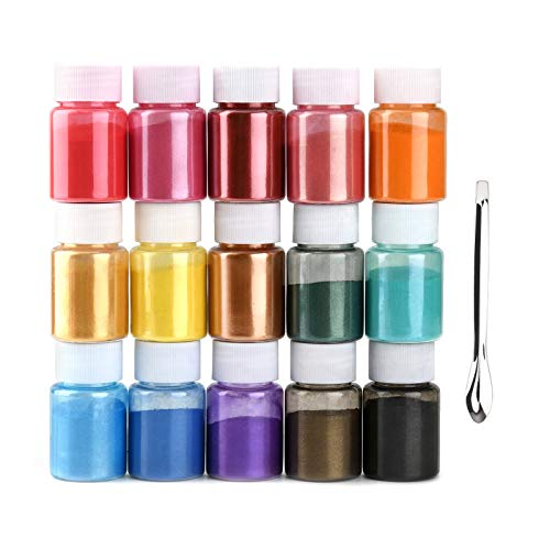 Mica Powder Pigment 15 Color Powder Resin Organized with Pearlescent Pearl Luster, for DIY Soap Making, for Slime, Adhesive Pigments, Bath Bomb Dyes, Soap Making, Epoxy Resin, Paint