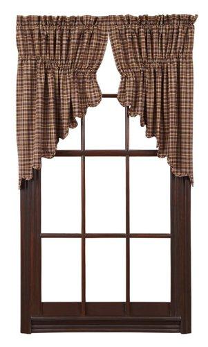VHC Brands Prescott Prairie Swag Scalloped Set of 2 36x36x18 Country Curtains, Dark Brown