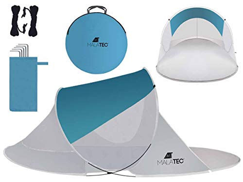 MT Malatec Beach Shelter Pop Up UV Protection Lightweight Sun Tent 10178, Size: 220 x 120 x 90 cm
