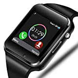 Smart Watch - Sazooy Bluetooth Smart Watch Support Make/Answer Phones Send/Get Messages Compatible Android iOS Phones with Camera Pedometer SIM SD Card Slot for Men Women (Black)
