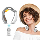 Electric Pulse Neck Massager for Pain Relief, Intelligent Neck Massage with Heating Function, 6 Modes and 15 Levels Adjustable Strength, Portable Cordless TENS Neck Massager