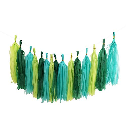 Party Hanging Decoration Mixed Mint Green Paper Tassels Garland Wedding Banner Bunting Baby Shower Garlands (Need DIY Set)