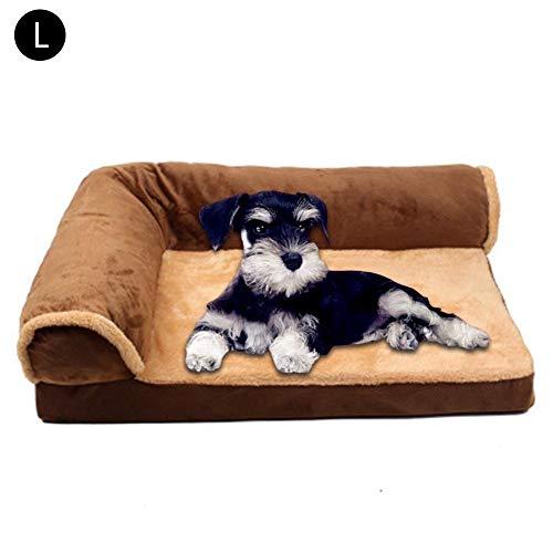 Hondenmand, hondenbed, kussen, bank voor huisdieren en bank voor thuis, wasbare mand voor honden, heaven, gezellig (verschillende maten), L, Bruin