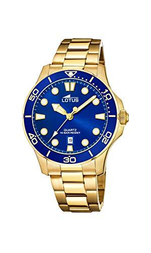 LOTUS Reloj Modelo 18764/1 de la colección Excellent, Caja de 38,5 mm Azul con Correa de Acero Chapado para señora