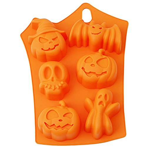 Orange Pumpkin Skull Non-Stick Silicone Baking Mold for Hard Candy Chocolate Ice Cookies