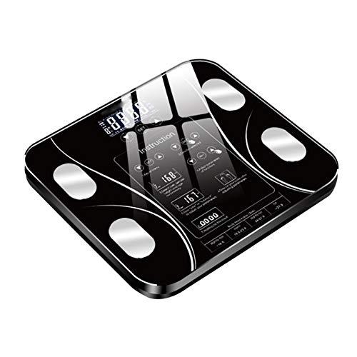HKJZ SFLRW Escala Digital de BMI Inteligente: medir el Peso y la Grasa Corporal: la báscula de baño de Vidrio Bluetooth más precisa