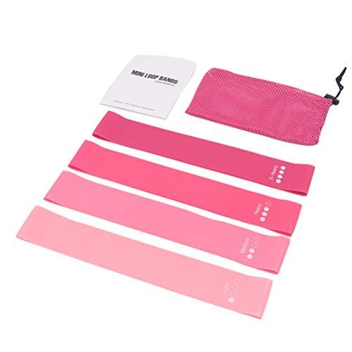 ABOOFAN 4 bandas de resistencia para ejercicios de fitness, yoga, bandas elásticas para dominar, para niña, color rosa