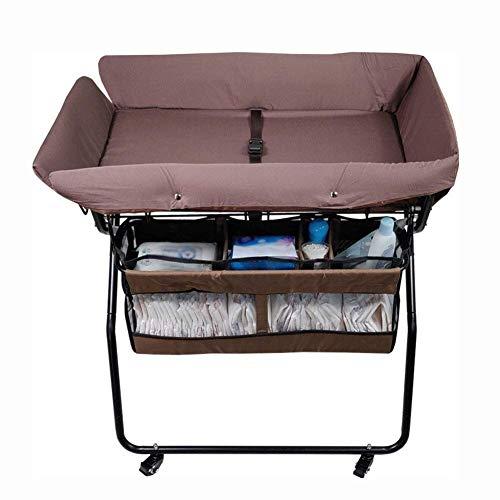 Klaptafel tuintafel eettafel klaptafel baby met wielen - draagbaar luierstation voor kleine kinderen kinderkamercommode - babyreisbed bruin