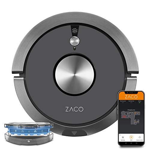 ZACO A9sPro - Robot aspirador con función de fregado, aplicación y Alexa, Mapping, hasta 2h de aspiración, para suelos duros, alfombras, pelo de animales, con estación de carga, color gris antracita