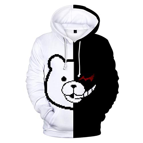 CYANDJ-Black and White Bear-Unisex Sweater 3D Hoodie Long Sleeve Casual Breathable Pullover Boy Sweatshirt Coat Jacket-01/XXL