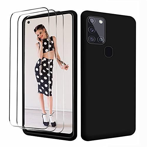 NUDGE Funda para Samsung Galaxy A21s con 3 Vidrio Templado HD, Estuche Silicona Suave Líquida, Carcasa a Prueba de Golpes con Forro de Microfibra -Negro