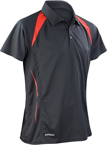 Result Cool-Dry Funktions-Poloshirt Team Spirit S177M, Farbe:Black/Red;Größe:3XL