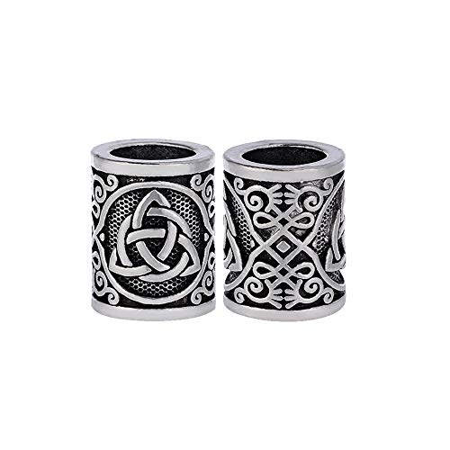 Yahpetes Hair Beard Beads 2 Pcs Celtics Knots Triquetra Viking Beads 0.59'X0.47' Viking Rune Beards Sliver Norse Rings Large Viking Beard Beads Metal Beads,Pack 2