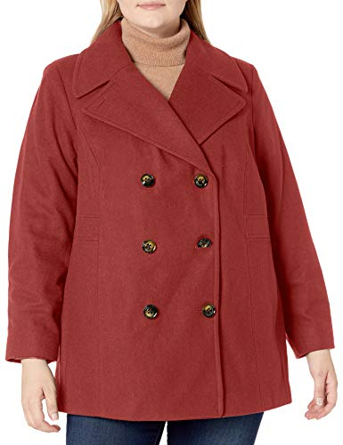 LONDON FOG Women's Plus Size Double-Breasted Peacoat with Scarf, Umber, 2X