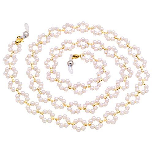 KAI Top Eyeglass Chain Sunglasses Chain for Women Girls Fashion White Pearl Flower Bead Eyewear Retainer Lanyard