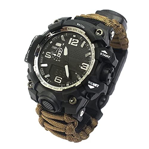 WTYU Reloj Digital Al Aire Libre,Reloj Deportivo para Hombres,Termómetro De Compás Termómetro Dual Pantalla Ajustable Velcro Nylon Reloj Correa,para Aventura Al Aire Libr E