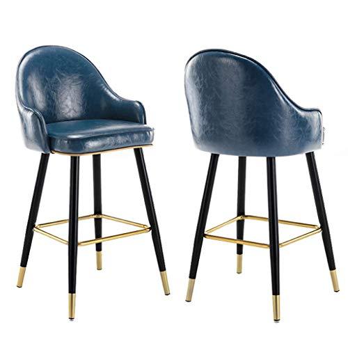 GuoEY Taburete Alto Elegante y Moderno con Respaldo Taburetes de Bar tapizados de Cuero de imitación, Juego de 2 sillas de Bar de Altura de mostrador sin Respaldo Cocina Silla de Desayuno Reposapi