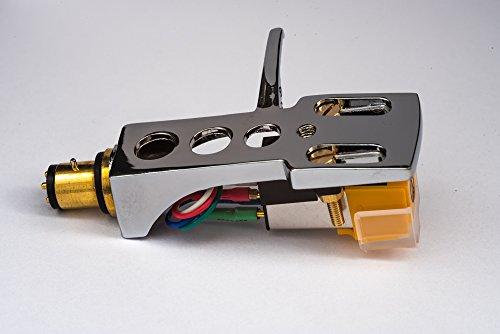 Mirror Chrome plated Headshell, mount with cartridge and stylus, needle for Stanton STR8 20, STR8 30, STR8 50, STR8 80, STR8 90, STR8 100, STR8 150, MADE IN ENGLAND