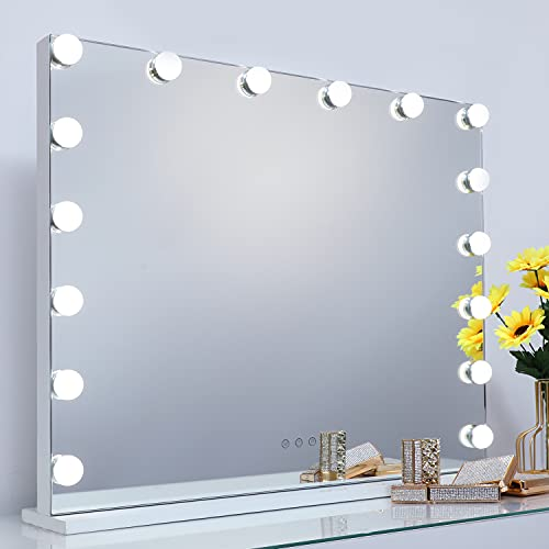 iCREAT Hollywood Spiegel Schminkspiegel mit Beleuchtung für Schminktisch Makeup Spiegel mit Licht 16 Dimmbare LED Lampen 3 Farbtemperatur USB Tischspiegel Kosmetikspiegel Vanity Mirror 70X55 cm Weiß