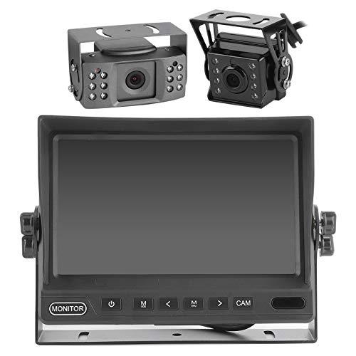 Cámara de monitor de visión trasera, 1080P 7in IPS DVR Cámara de marcha atrás, Vista trasera delantera AHD Monitor de cámara de salpicadero de respaldo para camión de marcha atrás