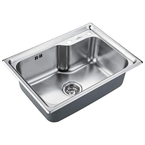 Auralum Edelstahl Küchenspüle Groß Edelstahlspüle Einbauspüle Küche Waschbecken 1 Becken für Einbau und Flachbündige Montage, 62x45cm