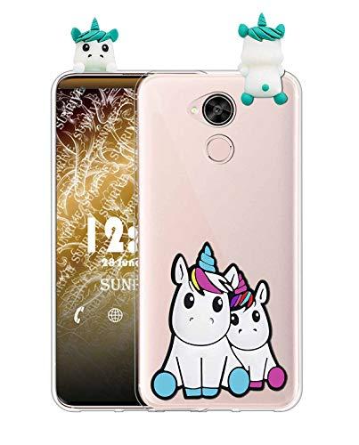 Sunrive Coque pour HTC U11 Plus, Silicone Étui 3D Transparent Housse Protecteur Souple Gel Back Case(W1 Licorne 2)+ Stylet OFFERTS