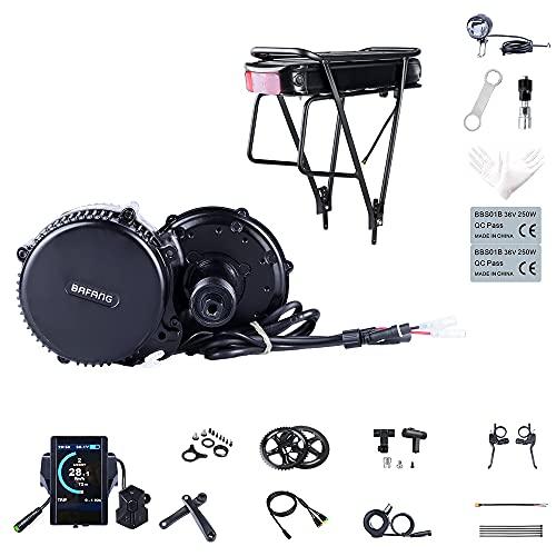 Kit Mid Drive BBS02B 48V 750W Kit Moteur électrique vélo pour Conversion Ebike (Batterie: Aucun, Compteurs vélo: 850C, Couronne: 44T)