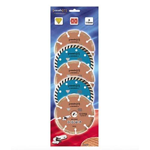 ECOSPAIN Juego de 5 Discos de Corte Casals. Corte Universal de 115 mm. Válido para Piedra, hormigón, Ladrillos y Azulejos