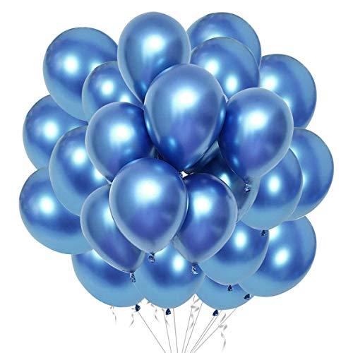 Fangoo 50 Piezas Globos metálicos de látex Brillante para cumpleaños Boda Compromiso Aniversario Baby Shower Festival Picnic graduación Navidad o Cualquier decoración de Fiesta (Azul)