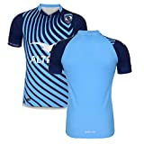 WXFO 2021 Montpellier Rugby Football Jersey, Sports Respirant T-Shirt décontracté Sports à Manches Courtes T-Shirt T-Shirt Polyester Outdoor Casual T-Shirt Rapide Blue-S