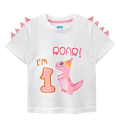 Camiseta 1er Cumpleaños Bebé Niña Dinosaurio Cumpleaño Fiesta Manga Corta Tops Ropa 1 Año 100% Algodón Blanca Dino Impreso tee