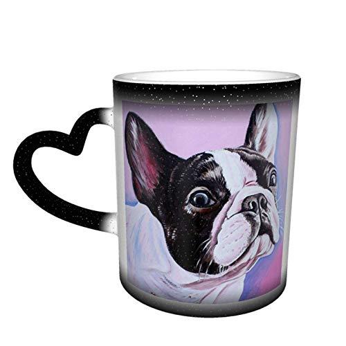 N\A Bulldog Frances Art Magic Taza Que Cambia de Color Sensible al Calor en el Cielo Tazas de café artísticas Divertidas Regalos Personalizados para Amantes de la Familia Amigos